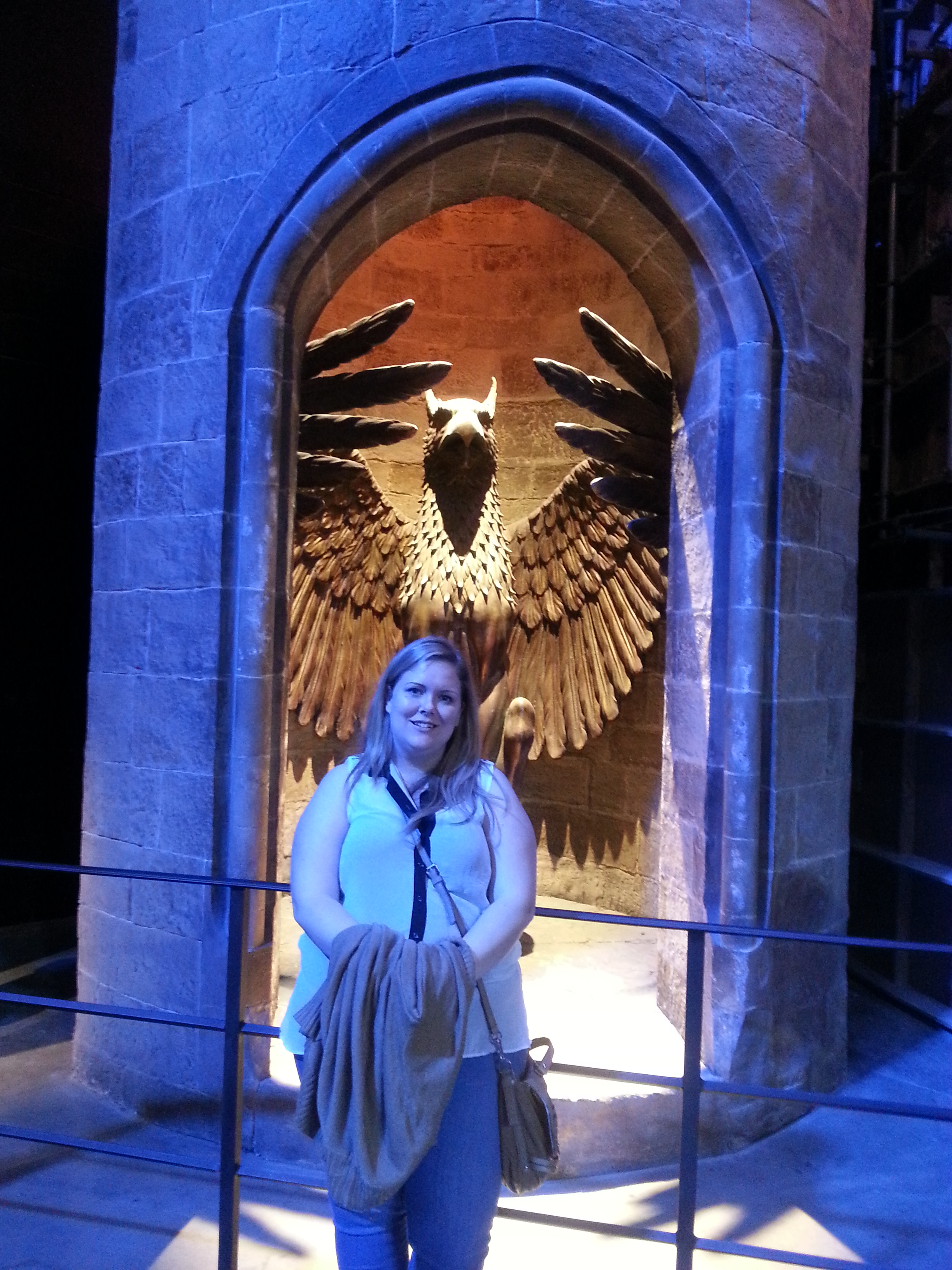 The spiral staircase leading to Dumbledore's office.