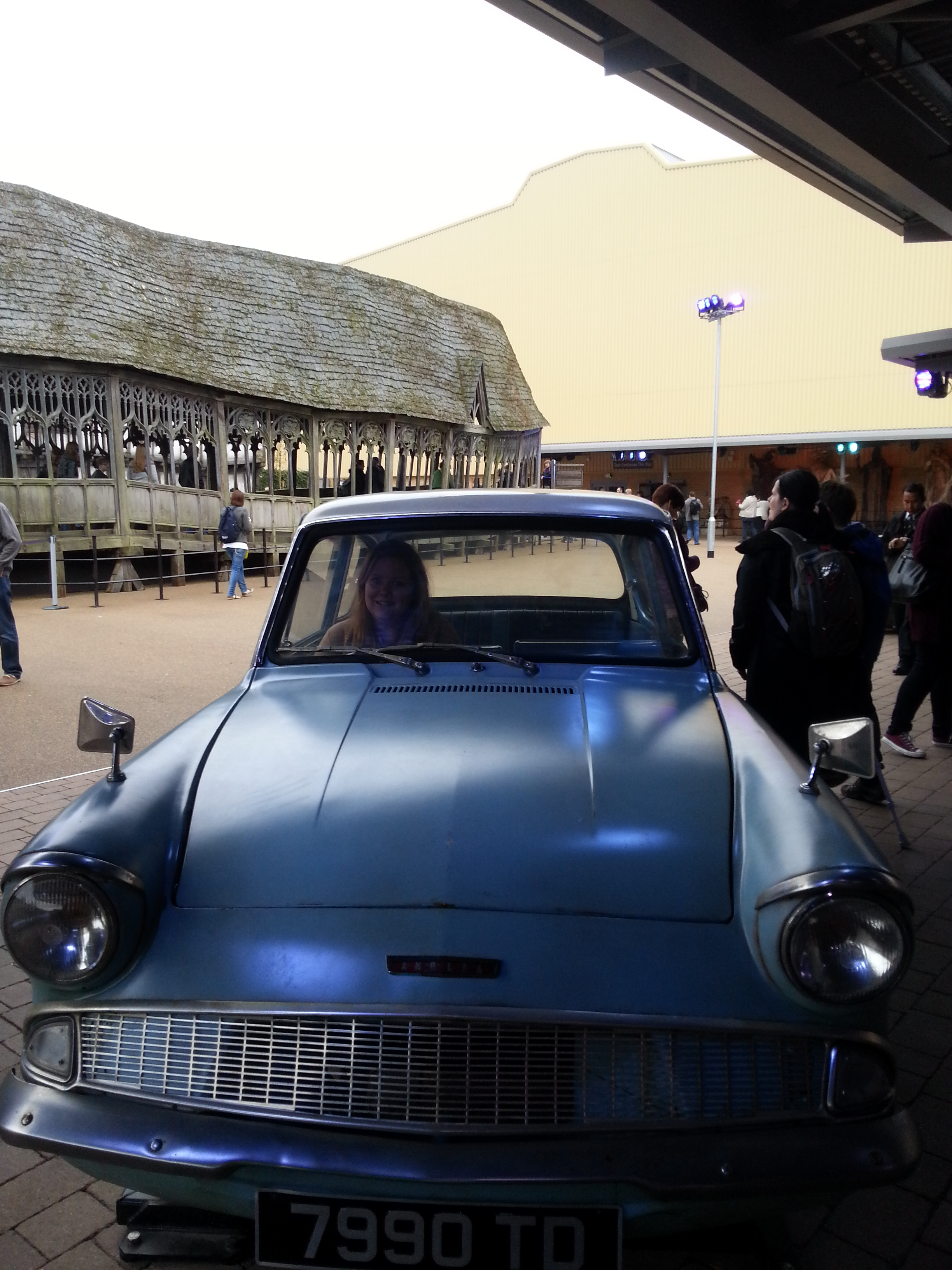 Driving Mr Weasley's flying Ford Anglia.